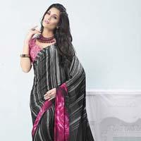 Radhika Fibers Black Crepe Silk Saree