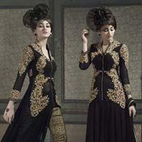 Black Color Pure Banarasi Designer Suit