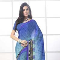 Fibers Brown Color Printed Crepe Silk Saree