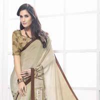 Radhika Fibers Dark Khaki Color Printed Crepe Silk Saree With Blause