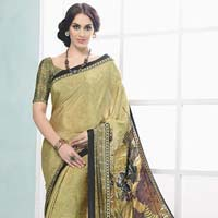 Fibers Mehandi Color Crepe Silk Saree