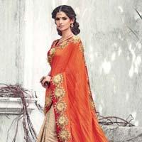 Cream Color Raw Silk Designer Lehenga Saree