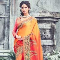 Orange Color Raw Silk Designer Lehenga