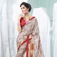 Radhika Fibers Sandy Brawn Color Designer Crepe Silk Saree With Blause