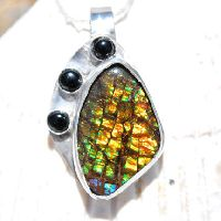 Ammolite Pendant - Ammolite And Onyx Pendant