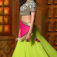 Designer Lehenga Choli With Creamcolor Lahenga And Net Fabric - 9252