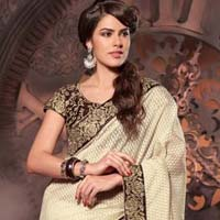 Latest Stylish Jacquard Designer Saree With Cream Color - 9226