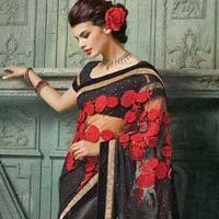 Net Designer Saree With Black Color