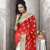 Viscose Designer Saree With White And Red Color
