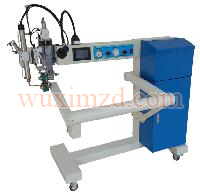 Hot air hot wedge welding machine for tarpaulin
