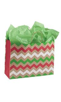 Christmas Chevron Paper Shopping Bags