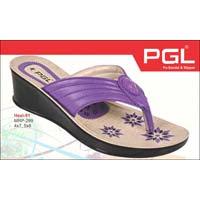 Ladies Pu Heel Slippers