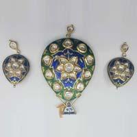 Diamond Polki Pendant Set