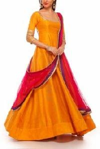Banglori Silk Orange Semi Stitched Dress