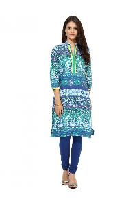 Blue And Turquoise Cotton Graphic Print Kurti