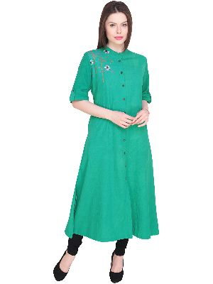Womens Embroidered Cotton Casual Kurti