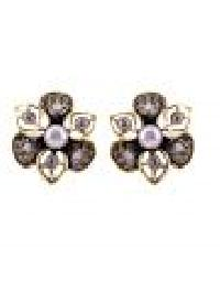 Crystal Floral Button Earring