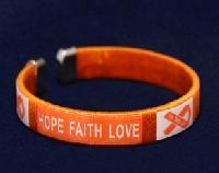 Adult Hope Orange Ribbon Bangle Bracelets