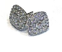 Cushion Shaped Pave Diamond Earrings