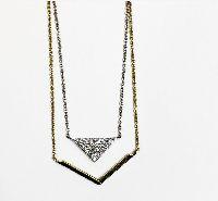 yellow and white gold diamond geometric shape necklace