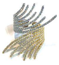 Yellow White Gold Diamond Swoosh Ring