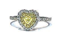 yellow diamond heart shaped ring