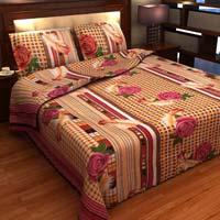 Factorywala Premium Cotton Floral Print Multi Colour Double Bed Sheet