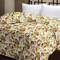 Floral Printed Cotton Multi-color Ac Single Mini Blanket