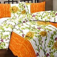 Floral Printed Cotton Orange Ac Single Bed Blanket