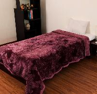 Mink Single Bed Floral Embossed  Purple Blanket