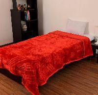Mink Single Bed Floral Embossed Red Blanket