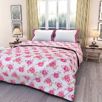 White Floral Print  Soft and Warm Micro Fiber Single Bed Blanket