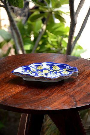 Blue Pottery Leaf Serving Tray