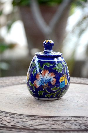 Blue Pottery Sugar Pot