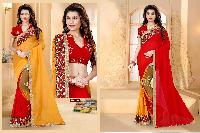 2 Side Wear Embroidery With Printed Bollywood Saree