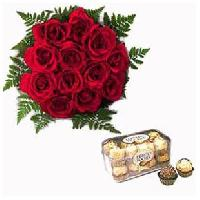 12 Red Rose Bouquet With Ferero Rocher