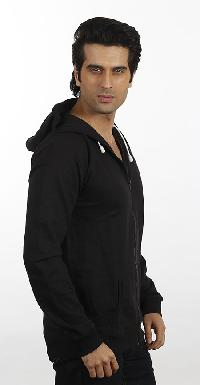 Mens Black Hooded Sweat Shirt With Zipper