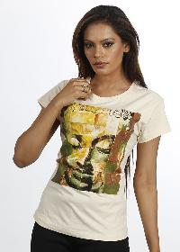 Women White Buddha T Shirt