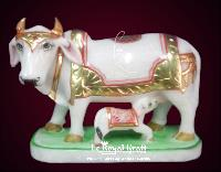 White Marble Cow with Calf Statues