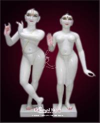 White Marble Iskcon Radha Krishna Statues