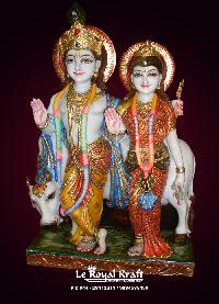 White Marble Radha Krishna Statues with Cow