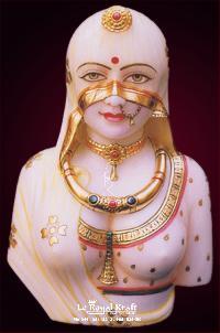White Marble Rajasthani Lady Bust