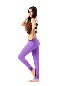 ladies plain cotton lycra leggings with 180gsm 4way stretch