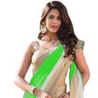 Green Color Georgette With Net Brasso  Saree