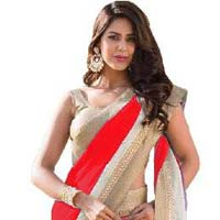 Red Color Georgette With Net Brasso  Saree