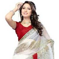 White Color Designer Net  Saree