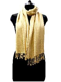 Sheetla Rayon/viscose Jacquard Stole Golden Skin Casual Self Print For