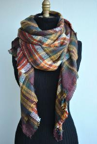 New Pashmina Wool Check Shawls And Scarves