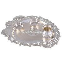 Silver Pan Shaped Pooja Thali