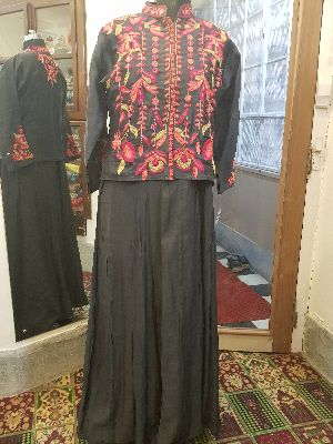 Embroidered Jacket Muslin Kurti